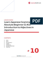 10. Absolute Beginner #10 - Introduction to Adjectives in Japanese - Lesson Notes
