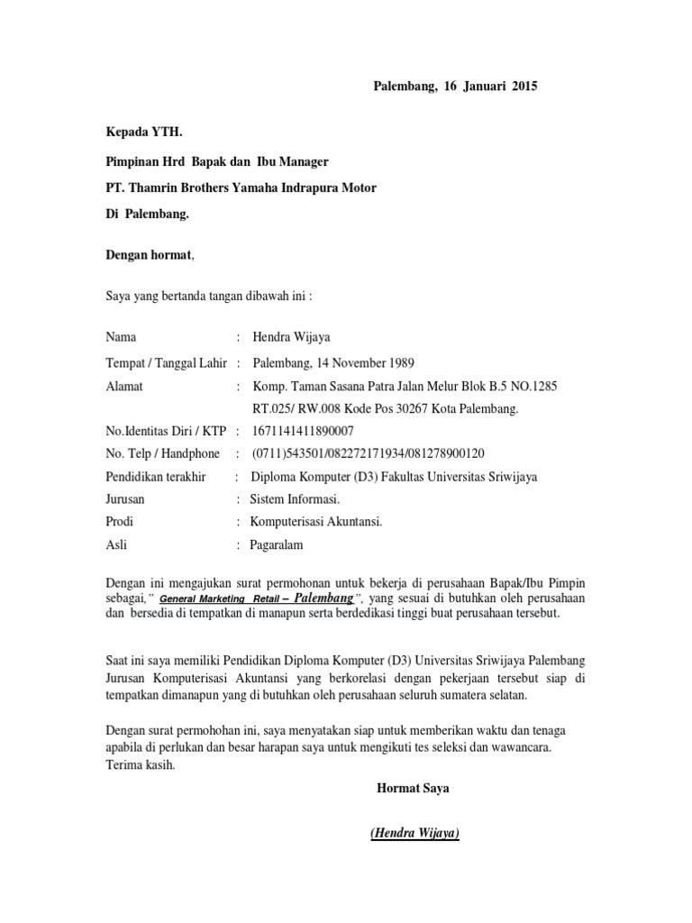 Contoh Surat Lamaran Kerja Di Pt Yamaha Music Kumpulan Kerjaan