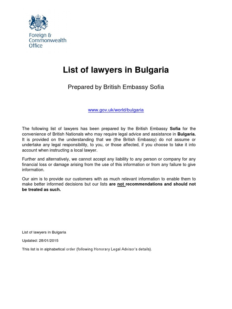 lawyers list bulgaria | Bulgaria | Lawyer