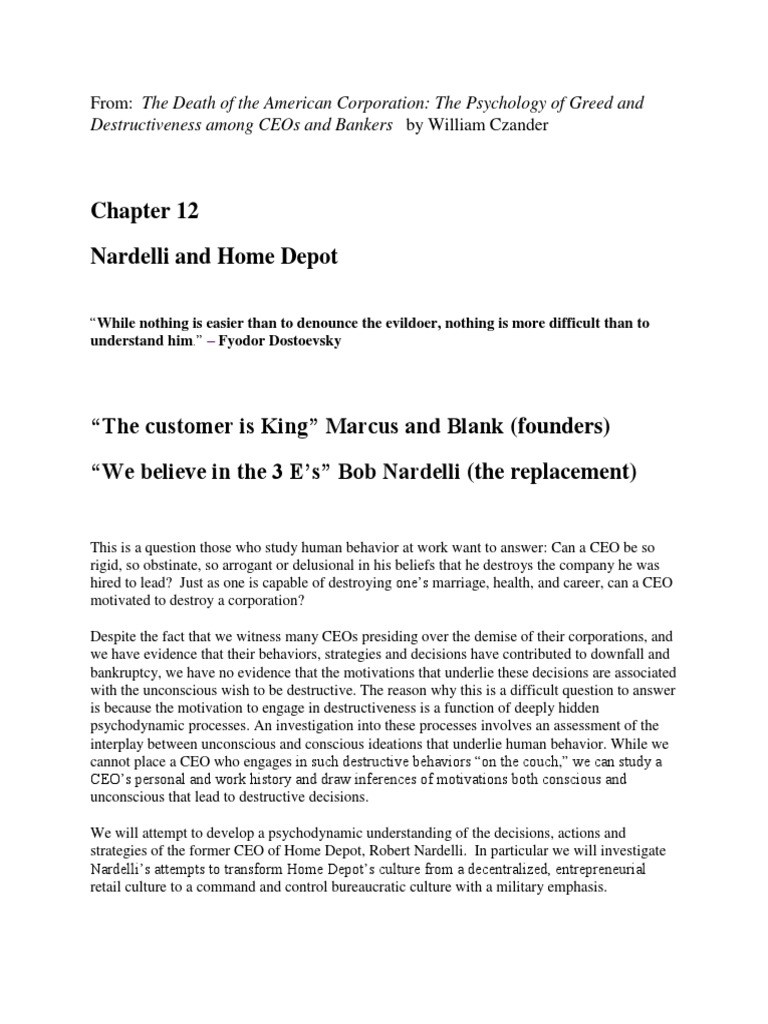 Chapter 12 Nardelli and Home Depot.pdf | The Home Depot | Human ...