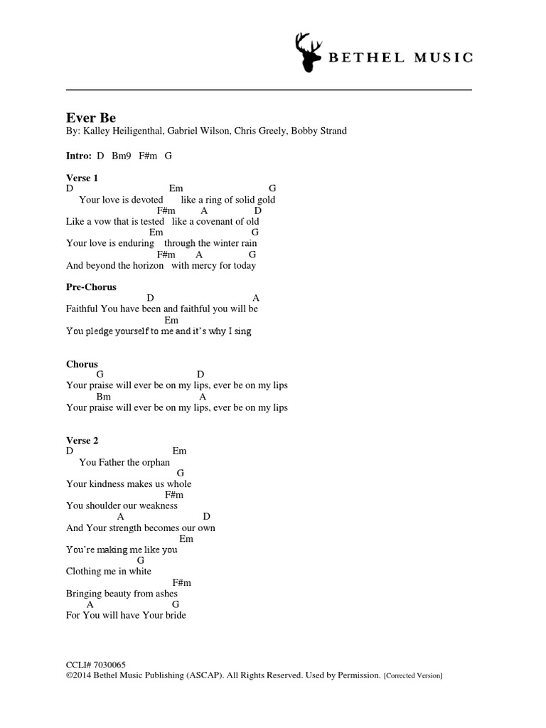 Ever Be Chords Corrected