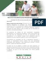25-04-2015 Nerio Torres Arcila realizará la primera Olimpiada Deportiva Municipal