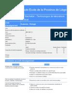 Hepl Bac Technologue de Laboratoire Medical Bloc 1 Programme 2014