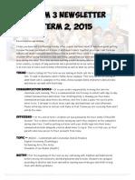 term 2 newsletter 2015 room 3