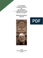 V CONGRESO INTERNACIONAL DE HUMANISMO Y PERVIVENCIA DEL MUNDO CLÁSICO