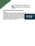 Políticas Públicas de Desenvolvimento Sustentável - Ementa