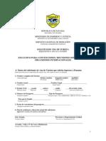 Formulario de Visas de Turistas Para Convenciones Internacionales