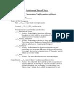 dora - assessment record sheet