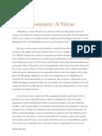 Anonymity- A Virtue