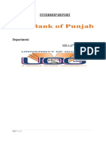 Internship Report of BANK of PUNJAB
