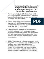Talking Points Regarding the Governor's Proposed Budget
