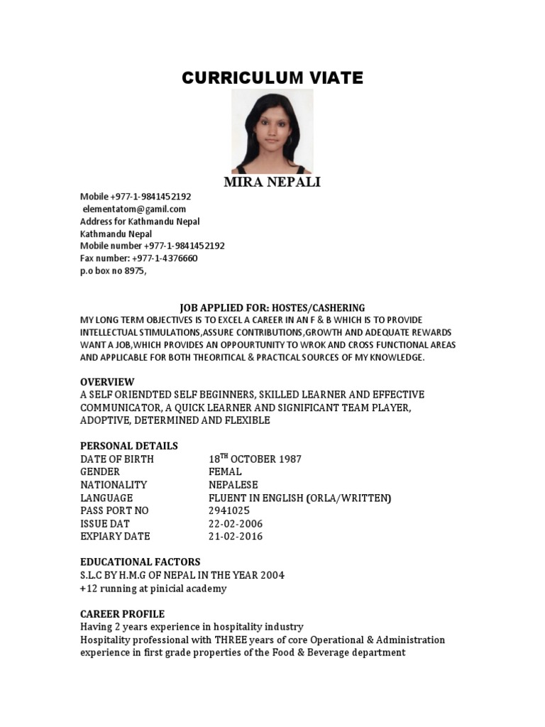 mira nepali cv only - Resume Sample With Personal Details