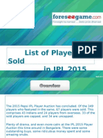 List of Sold Players in IPL 2015