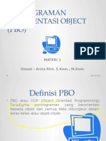 Pemrograman Berorientasi Object (Pbo) Materi 1