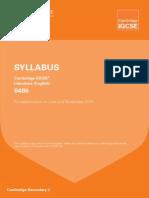 Igcse Lit Syllabus 2015