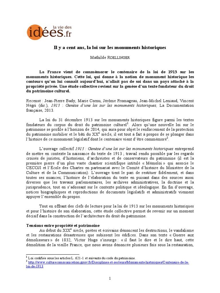 Il Y A Cent Ans La Loi Sur Les Monuments Historiques Patrimoine 2