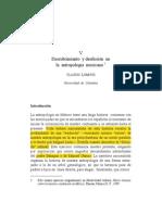 Descubrimiento y desilusión en la antropología mexicana CLAUDIO LOMNITZ