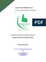 Noticias del Sistema Educativo Michoacano al 27.04.2015