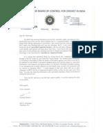 BCCI Secretary Letter