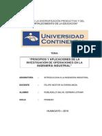 PRINCIPIOS Y APLICACIONES DE LA INVESTIGACIÓN DE OPERACIONES EN LA INGENIERÍA INDUSTRIAL