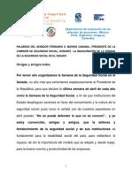 Discurso de Inauguración de la Semana de Seguridad Social del Senador Fernando Mayans