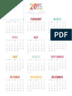 MissTiina Colorful 2015 Calendar 5x7