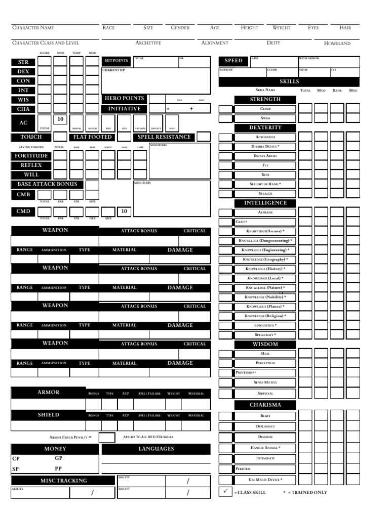 starfinder character sheet excel