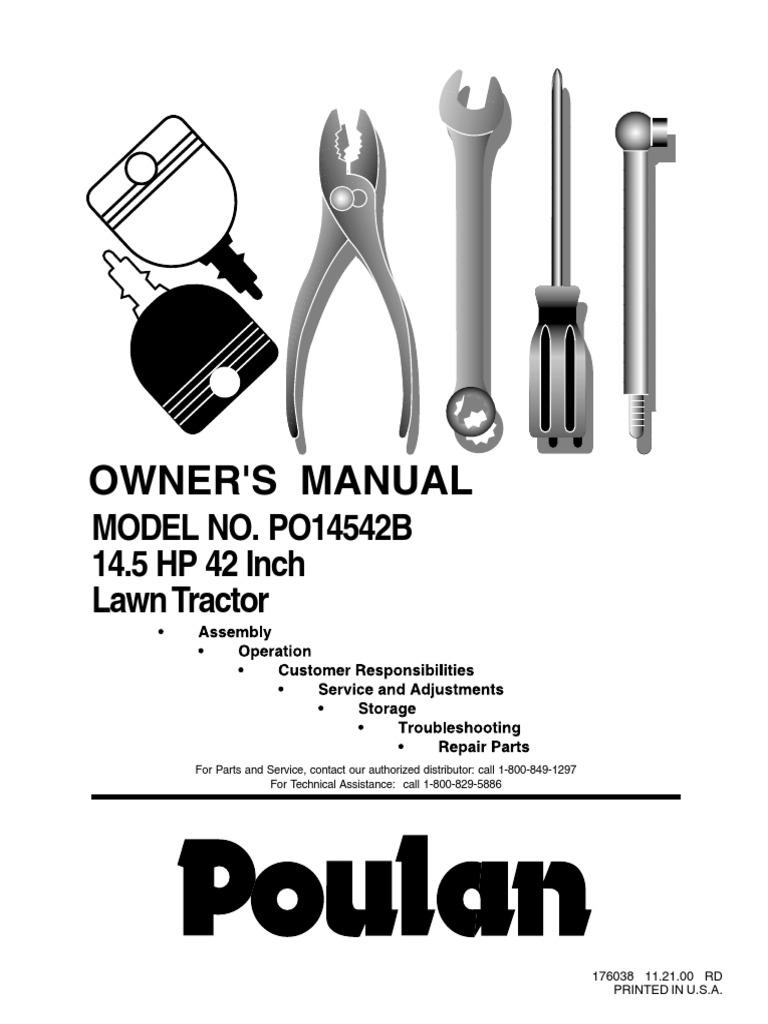 Poulan Model No Po14542b Tractor Clutch Wiring Schematics