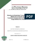 Estudio de Estabilidad transitoria por el método de la función de energía transitoria incorporando los modelos de carga estática no lineales.