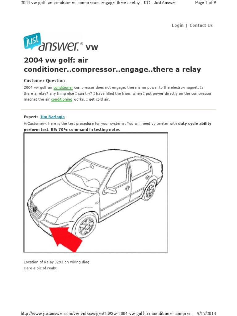 Vw Test Procedure No Compressor | Air Conditioning | Relay