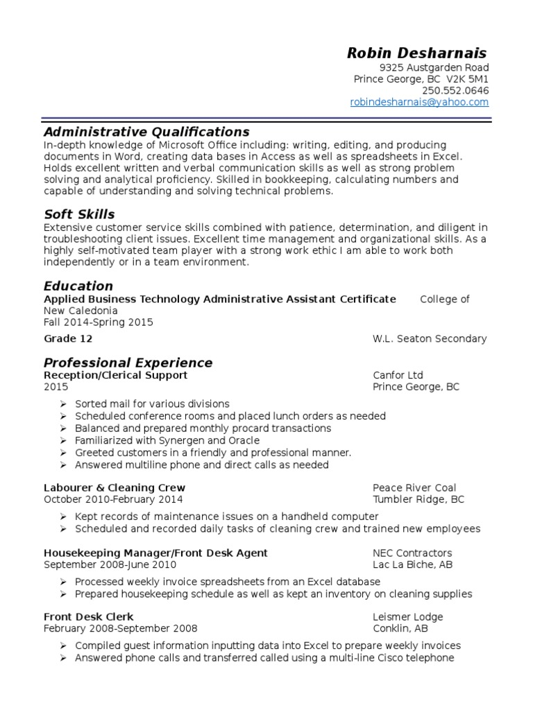 robin desharnais resume | Microsoft Excel | Spreadsheet