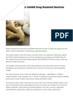 Garlic and Ginger Inhibit Drug Resistant Bacteria