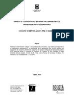 PROYECTO DE PLIEGO DE CONDICIONES CONCURSO DE MÉRITOS ABIERTO