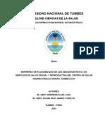 Barreras de Accesibilidad de Los Adolescentes a Los Servicios de Salud Sexual y Reproductiva Del Centro de Salud Andrés Araujo Moran, Tumbes 2014