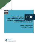 Inclusión Digital y Prácticas de Enseñanza en el Marco del Programa Conectar Igualdad para la Formación Docente de Nivel Secundario