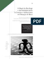 O Papel do Psicólogo e das Entidades Junto a Crianças e Adolescentes