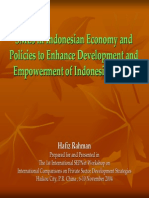 SMEs in Indonesian Economy and Policies to Enhance Development and Empowerment of Indonesian SMEs