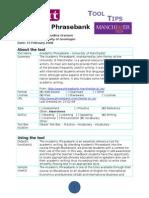Tool Tip Academic Phrasebank
