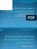 Adaptarea Elevilor Din Clasa a IX-A La Învățământul