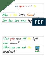 various magic word sentences coloured