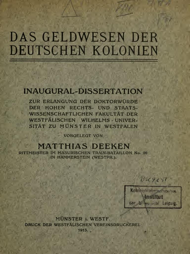 Das Geldwesen Der Deutschen Kolonien Von Matthias Deeken