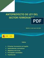 AnteProyecto de Ley Del Sector Ferroviario en España. Marzo 2015