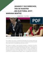 """27.04.2015 """"LOS CIUDADANOS Y SUS DERECHOS, EN EL CENTRO DE NUESTRA PLATAFORMA ELECTORAL 2015″, MARIANA BENÍTEZ."""