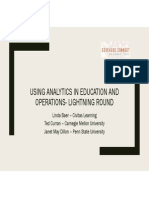 Using Analytics in Education and Operations