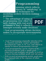 Goal Programming Model