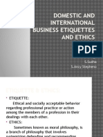 Domestic and International Business Etiquettes and Ethics