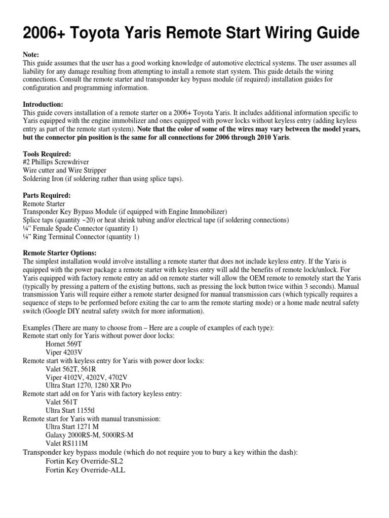 Yaris 2006  Remote Start Wiring Guide