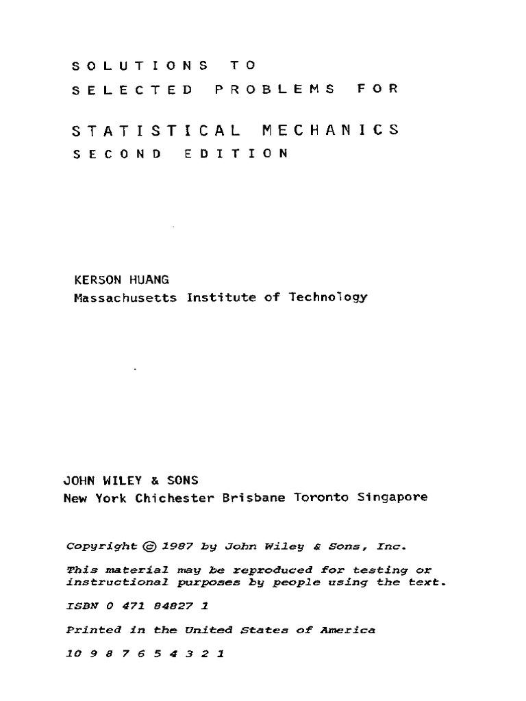 huang solution manual rh pt scribd com Sethna Statistical Mechanics Statistical Mechanics PDF