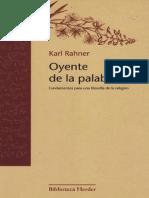RAHNER, KARL - Oyente de la Palabra (Fundamentos para una Teoría de la Religión) [por Ganz1912]