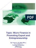 Micro Finance in Promoting Export and Entrepreneurship
